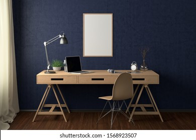 Workspace with vertical poster mock up on blue wall. Desk with drawers in interior of the studio or at home. Clipping path around poster. 3d illustration.