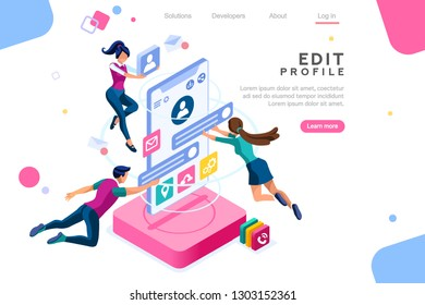 Workspace for workers, interface to build ideas, create mobile profile or customer analysis. Office fly application, data on client teamwork phone. Isometric illustration. Landing page concept