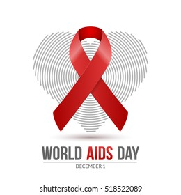 World AIDS Day. 1st December World Aids Day hiv poster. medical illustration desease with red ribbon and heart.