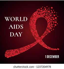 World AIDS Day awareness poster. Red ribbon made of dots on dark background. Symbol of acquired immune deficiency syndrome. Medical concept. Circle design elements.