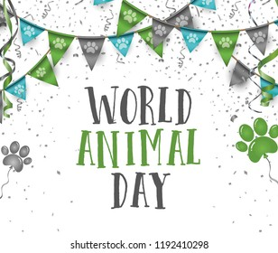 World animal day 4 october bunting party flags with dog animal pets paws print