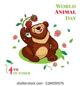 World animal day cute bear concept background. Cartoon illustration of world animal day cute bear concept background for web design