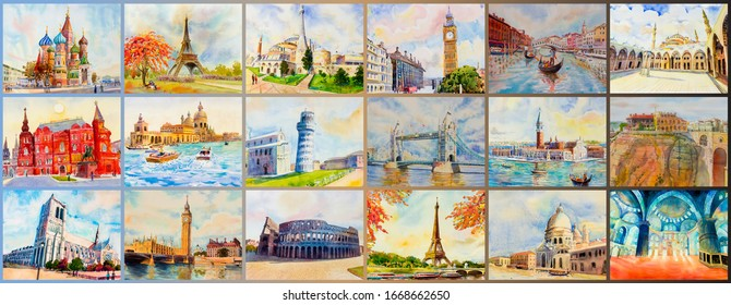 World architectural set of Travel around the world and sights. Famous landmark of europe grouped together. Watercolor hand drawn painting illustration on paper with postcard, advertising, tourism.