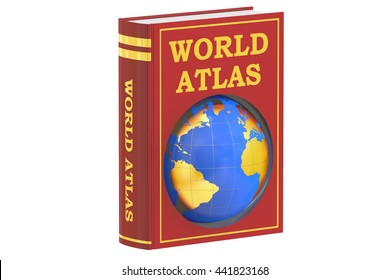 world atlas book concept, 3D rendering isolated on white background