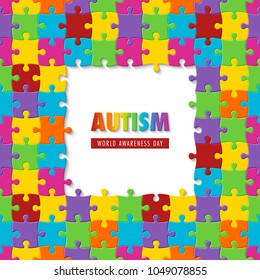 World autism awareness day. Colorful puzzle background. Symbol of autism. Illustration