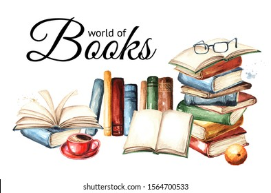World of books card. Watercolor hand drawn illustration, isolated on white background
