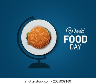 World burger Day- Happy burger Day concept. Burger isolated on a globe stand with white background- world food day. Food safety day.