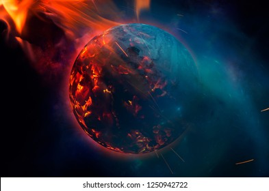 world burning concept apocalyptic scene, planet burning in space