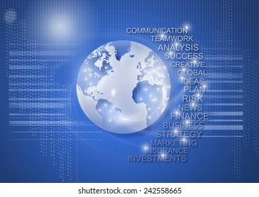 World business, communication and technology futuristic background.