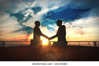 World business  shake hand in office silhouettes rendered with computer graphic 3d