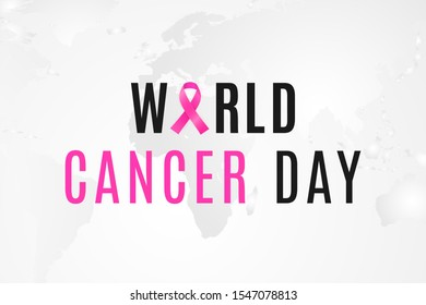 World Cancer Day banner. February 4 is day when all people unite against the oncology