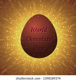World Chocolate Day. Concept of a delicious holiday. 11 July. Chocolate egg with an inscription - the name of the event. Glowing grunge background with sparkles