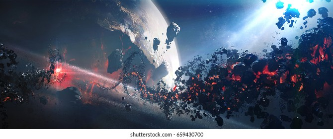 World collapse, doomsday scene, digital painting,3D rendering.