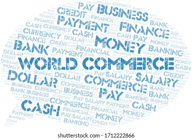 World Commerce typography word cloud.