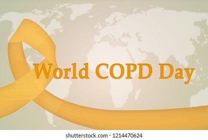 World COPD day, background with map and awareness ribbon