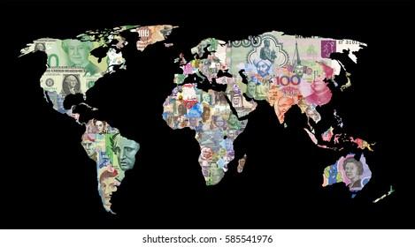 mapa de monedas de los países del mundo financiar billetes de banco