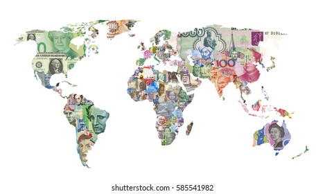 world countries currency map finance money bank-note