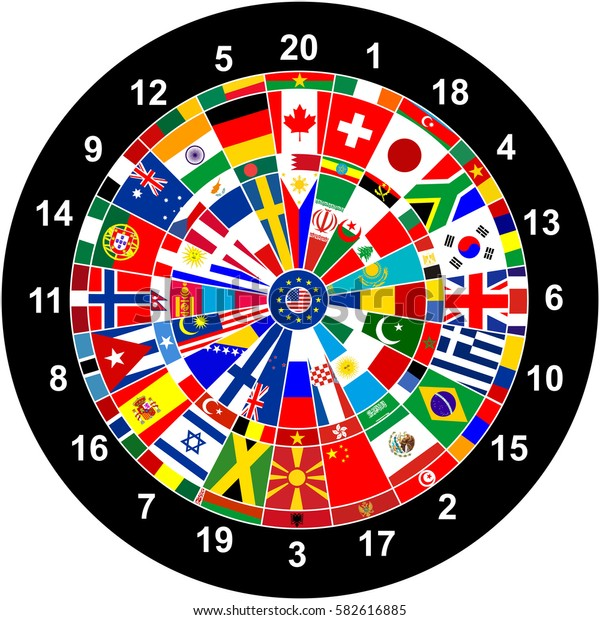 world countries flags darts board game illustration