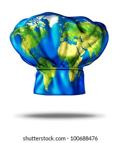 World cuisine and international meals as Greek Italian Mexican American French and Chinese or Japanese food represented by a restaurant cooking chef hat with an illustration of the earth on the cap.