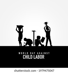 World day against Child Labor. Anti child labor day. Let's bring child labor down. Kids working one side and another side kids win the cup. Stop Child Labour. Silhouette kids with hammer, pen, pencil.