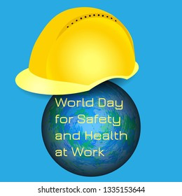 World Day for Safety and Health at Work. 28 April. Celebration concept. Earth and protective helmet of yellow color. Blue background. Text event name