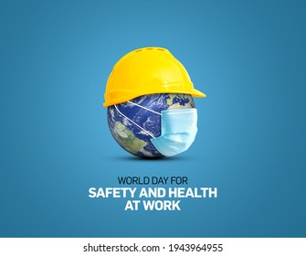 World Day for Safety and Health at Work 3d illustration concept.The planet Earth and the helmet symbol of safety and health at work place.
