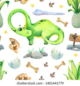 World Dinosaurs. Hand painted colorful watercolor pattern with dinosaurs, volcanoes, palms, plants and footprints, on a white background.