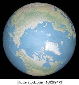 World earth globe arctic, north pole. Elements of this image furnished by NASA