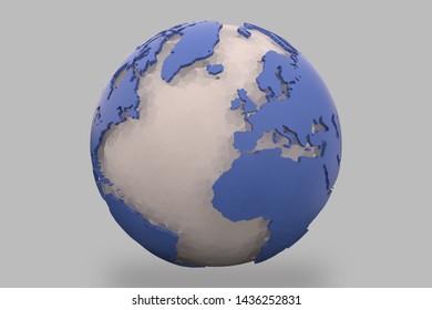 World earth globe background 3D illustration, 3d render, global population concept,