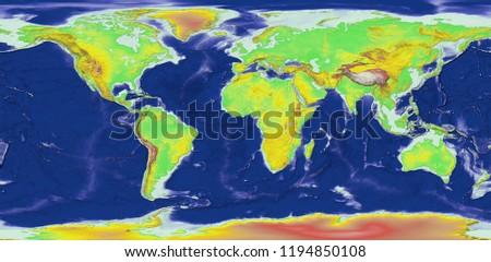 World Elevation Map 3 D Rendering Stock Illustration Royalty Free