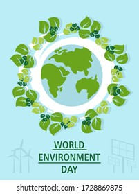 World environment day concept. Earth Day concept. Ecology design concept with air, water and soil. Flat icons isolated illustration.