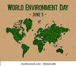 World Environment Day (June 5) cardboard cut out concept.