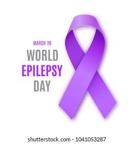World epilepsy day. Purple ribbon on white background. Epilepsy solidarity symbol.