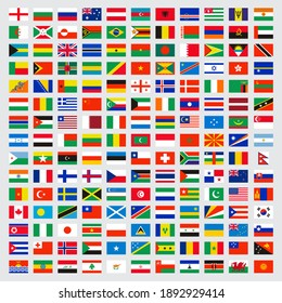 World flags collection. Laws name independent symbols map colored banners