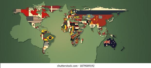 Weltflaggen und -karten mit brasilianischer Karte und grünem Hintergrund - 3D-Illustration