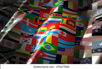 world flags on one colorful flag waving
