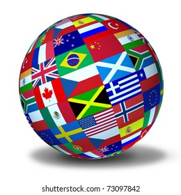 World flags sphere symbol representing international global cooperation in the world of business and political affaires.