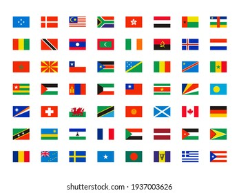 World flags. Symbols of all world countries map independent names collection