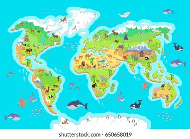 World geographical map with flora and fauna. Animals of land, oceans. North and South America, Europe, Asia, Australia, Africa, Antarctica. illustration. Pacific Atlantic Indian Arctic Ocean