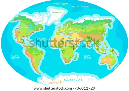 World Geographical Map Names Continents Oceans Stockillustration ...