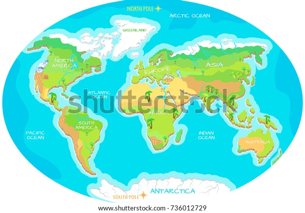 World Geographical Map Names Continents Oceans ...