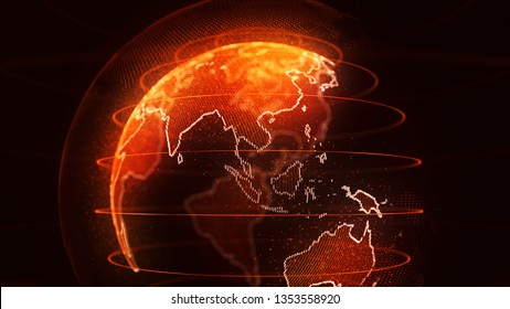 World globe with Asia highlighted by a golden orange light and the continent ringed by a line of sparkling lights. 3d Rendering