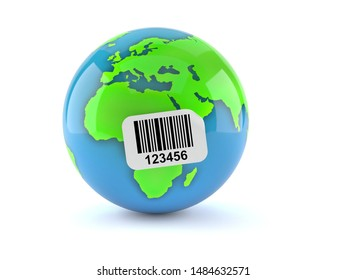 World globe with barcode sticker isolated on white background. 3d illustration