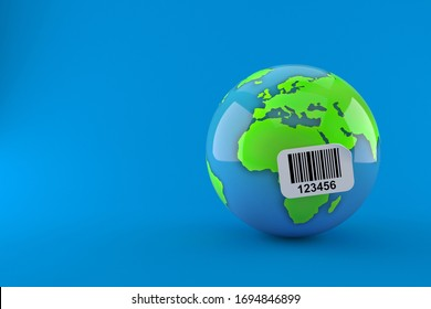 World globe with barcode sticker isolated on blue background. 3d illustration