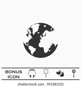 World Globe icon flat. Simple black pictogram on white background. Illustration symbol and bonus button