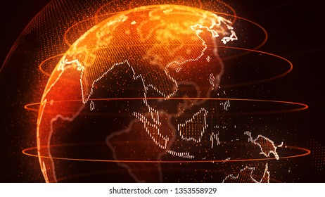 World globe with orange glow of Asia and the continents outlined in a row of sparkling lights in a conceptual image over a shadowy dark background. 3d Rendering