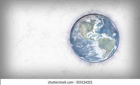 World Globe Sketch Artwork. Elements of this image furnished by NASA.