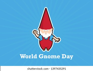 World Gnome Day illustration. Angry Garden gnome illustration. Dwarf with red cap icon. Garden gnome on a blue background. Gnome cartoon character