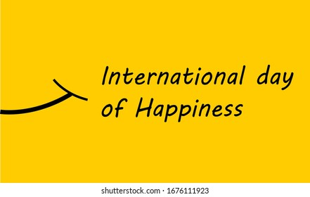 World happiness day celebrated on 20 March. Illustration of international day of Happiness on yellow background. Concept for international day of happiness. Smile illustration.