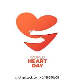World Heart Day, hands hugging heart symbol. illustration of hands hugging heart, Heart Care concept